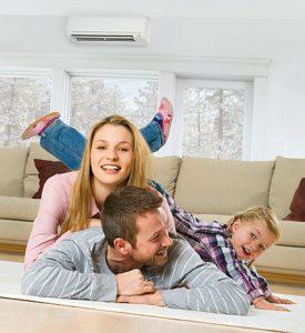 MOdern Family enjoying the comfort of a mini-split Air Conditioning Unit
